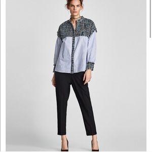 Zara Tweed Striped Poplin Button Down Blue Size S